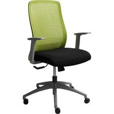 Horizon Era A57-GR Task Chair - Black Fabric Seat - Green Back - Gray Frame - Mid Back - 5-star Base - Armrest - 1 Each