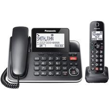Panasonic KX-TGF870 DECT 6.0 Corded/Cordless Phone - Black - Corded/Cordless - Corded - 1 x Phone Line - 1 x Handset - Speakerphone - Answering Machine - Hearing Aid Compatible