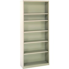 "Perfix Metal Bookcase - 84"" Height x 36"" Width x 12"" Depth - Beige - Metal - 1 Each"