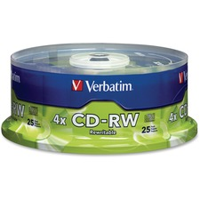 Verbatim 95169 CD Rewritable Media - CD-RW - 4x - 700 MB - 25 Pack Spindle