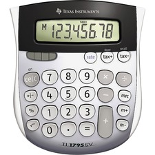 "Texas Instruments TI1795 Angled SuperView Calculator - Dual Power, Sign Change, Angled Display - 8 Digits - LCD - Battery/Solar Powered - 1"" x 4.3"" x 5.1"" - Gray - 1 Each"