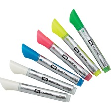 Quartet Whiteboard Paint Markers - Bullet Marker Point Style - White, Teal, Pink, Yellow, Green Liquid Ink - Gray Barrel - 6 / Pack
