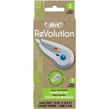 "Wite-Out Revolution Mini Correction Tape - 0.20"" (5 mm) Width x 19.7 ft Length - 1 Line(s) - Disposable, Tear Resistant, Protective Cap - 2 / Pack"
