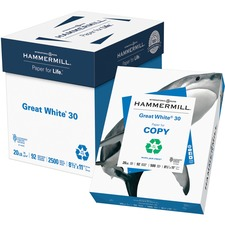 """Hammermill Great White Laser, Inkjet Copy & Multipurpose Paper - White - Recycled - 30% - 92 Brightness - Letter - 8 1/2"""" x 11"""" - 20 lb Basis Weight - 75 g/m² Grammage - 5 / Carton"""