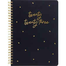"""Blueline Weekly Planner - Weekly - Twin Wire - Gold, Black - Golden - 8.3"""" Width - Ruled Planning Space, Durable Cover, Storage Pocket, Multilingual, Laminated, Hard Cover"""