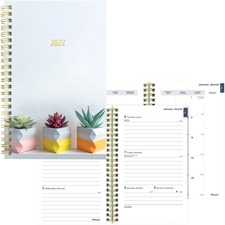 """Blueline Weekly/Monthly Diary - Weekly, Monthly - Twin Wire - Golden - 9"""" Width - Ruled, Bilingual, Hard Cover, Reference Calendar"""