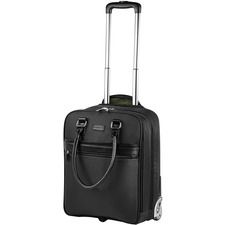 """bugatti Moretti Carrying Case (Briefcase) for 14"""" Notebook - Black - Nylon, Vegan Leather - Telescoping Handle - 19.50"""" (495.30 mm) Height x 14"""" (355.60 mm) Width x 8"""" (203.20 mm) Depth"""