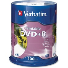 Verbatim DVD Recordable Media - DVD+R - 16x - 4.70 GB - 100 Pack Spindle - Retail