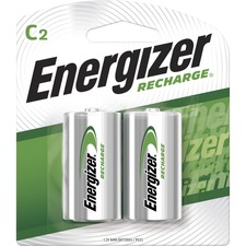 Energizer NiMH e2 Rechargeable C Batteries - 2500 mAh - C - Nickel Metal Hydride (NiMH) - 1.2 V DC - 2 / Pack