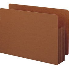 """Smead Tuff Pocket End Tab File Pockets - Legal - 8 1/2"""" x 14"""" Sheet Size - 3 1/2"""" Expansion - Straight Tab Cut - 16.5 pt. Folder Thickness - Redrope - Redrope - Recycled - 10 / Box"""