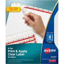 AVE11437 - Avery&reg Index Maker Print & Apply Clear Label Dividers with White Tabs