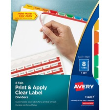 AVE 11407 Avery Index Maker Clear Label 3HP Dividers AVE11407