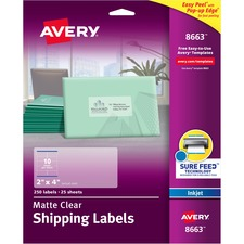 AVE8663 - Avery® Matte Clear Shipping Labels, Sure Feed(TM) Technology, Inkjet, 2