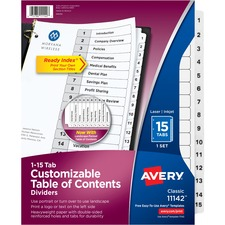 AVE 11142 Avery Black & White Table Contents Dividers w/Tabs AVE11142