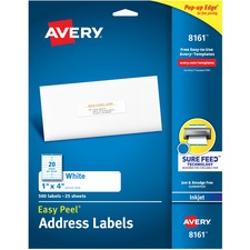 AVE 8161 Avery Easy Peel White Inkjet Mailing Labels AVE8161