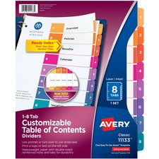 AVE 11133 Avery Ready Index Table Cont Dividers w/Color Tabs AVE11133