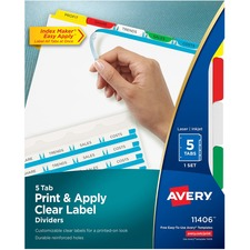 AVE 11406 Avery Index Maker Clear Label 3HP Dividers AVE11406