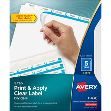 "Avery® Index Maker Print & Apply Clear Label Dividers with White Tabs - 5 Tab(s)/Set - 8.50"" Divider Width x 11"" Divider Length - Letter - 3 Hole Punched - Clear Divider - White Tab(s) - 5 / Pack"