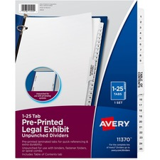 AVE11370 - Avery&reg Premium Collated Legal Exhibit Divider Sets - Avery Style