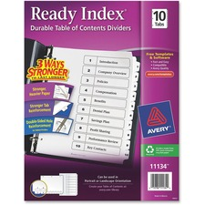 AVE 11134 Avery Black & White Table Contents Dividers w/Tabs AVE11134