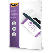 """Fellowes Glossy Pouch - Legal, 3 mil, 50 pack - Sheet Size Supported: Legal - Laminating Pouch/Sheet Size: 9"""" Width x 3 mil Thickness - Type G - Glossy - for Document - Pre-trimmed, Durable - Clear - 50 / Pack"""