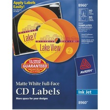 AVE 8960 Avery Full-Face Inkjet Printer CD/DVD Labels  AVE8960