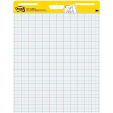 "Post-it® Self-Stick Easel Pad Value Pack with Faint Grid - 30 Sheets - Stapled - Feint Blue Margin - 18.50 lb Basis Weight - 25"" x 30"" - White Paper - Self-adhesive, Repositionable, Resist Bleed-through, Removable, Sturdy Back, Cardboard Back"