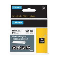 "Dymo Rhino Flexible Label Tape - 15/32"" Width x 11 1/2"" Length - Permanent Adhesive - Thermal Transfer - White - Nylon - 1 Each"