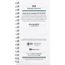 AAG 7090520 At-A-Glance Pocket Planner Weekly Refill AAG7090520