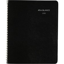 "At-A-Glance DayMinder Ruled Wirebound Weekly Planner - Julian Dates - Weekly - 1 Year - January 2021 till December 2021 - 1 Week Double Page Layout - 6 7/8"" x 8 3/4"" Sheet Size - Wire Bound - Black - Paper, Simulated Leather - 1 / Each"