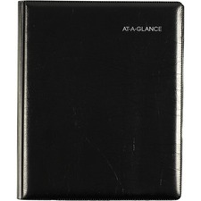 "At-A-Glance DayMinder Weekly/Monthly Planner - Julian Dates - Weekly, Monthly - 1 Year - January 2021 till December 2021 - 1 Week, 1 Month Double Page Layout - 6 7/8"" x 8 3/4"" Sheet Size - Black - Paper - Pocket, Holder, Phone Directory, Address Directory"