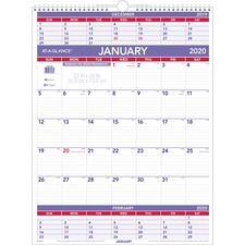 AAGPM1028 - At-A-Glance Recycled 3-Months-Per-Page Wall Calendar