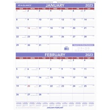 "At-A-Glance 2-Month Wall Calendar - Monthly - 1 Year - January 2021 till December 2021 - 2 Month Single Page Layout - 29"" x 22"" Sheet Size - 3"" (76.20 mm) x 2.25"" (57.15 mm) Block - Wire Bound - White - Paper - Hanging Loop - 1 Each"