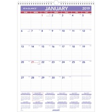 AAGPMLM0228 - At-A-Glance Write-on/Wipe-off Laminated Monthly Wall Calendar