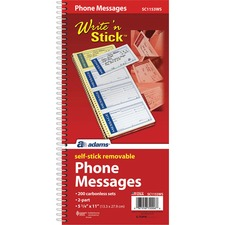 ABFSC1153WS - Adams Write 'n Stick Phone Message Book