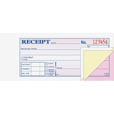 ABF TC2701 Adams Tapebound 3-part Money Receipt Book ABFTC2701