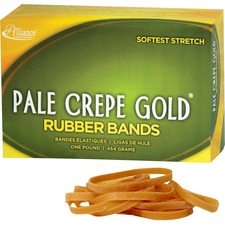 ALL 20185 Alliance 1lb Box Pale Crepe Gold Rubber Bands ALL20185