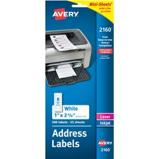 AVE 2160 Avery Mini-Sheets Laser/Inkjet Mailing Labels AVE2160