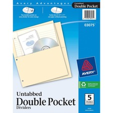 AVE03075 - Avery&reg Untabbed Double Pocket Dividers