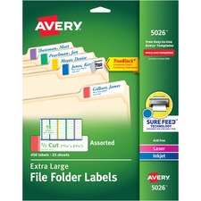 AVE5026 - Avery® Permanent Extra Large File Folder Labels with TrueBlock Technology