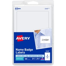 AVE 5147 Avery White Print or Write Name Badge Labels  AVE5147