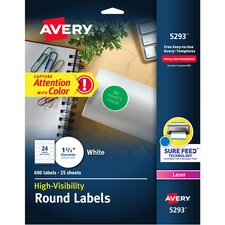 AVE5293 - Avery&reg White Round High Visibility Labels