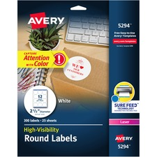 AVE5294 - Avery&reg White Round High Visibility Labels