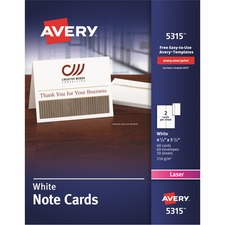 "Avery® Laser Print Greeting Card - 4 1/4"" x 5 1/2"" - 0% Recycled Content - 60 / Box - White"