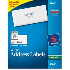 AVE 5360 Avery White Copier Mailing Address Labels AVE5360