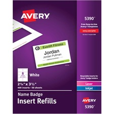 AVE5390 - Avery&reg Name Badge Insert Refills