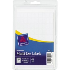 AVE 05412 Avery White Removable Multi-Use Labels AVE05412