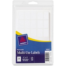 AVE 05424 Avery White Removable Multi-Use Labels AVE05424