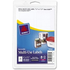 AVE 05430 Avery Removable Print/Write Rectangular Labels AVE05430