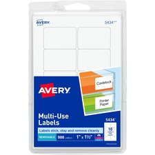 AVE 05434 Avery Removable Print/Write Rectangular Labels AVE05434
